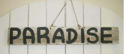 Hand Painted Paradise Sign Shabby Beach Decor