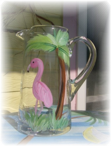 hand painted flamingo and palm tree pitcher