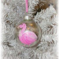 Hand Painted Flamingo Christmas Ornament
