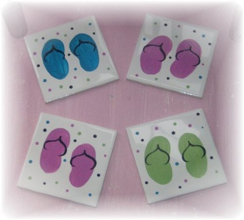 Hand Painted Flip Flop Coaster Set