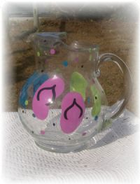 Hand Painted Flip Flop Lemonade Pitcher