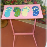 Hand Painted Flip Flop Accent Table