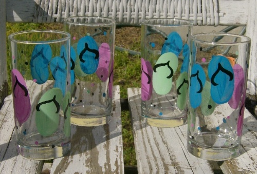 2cf42ef869f8 Hand Painted Flip Flop Drinking Glasses
