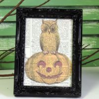Vintage Owl and Pumpkin Framed Book Page