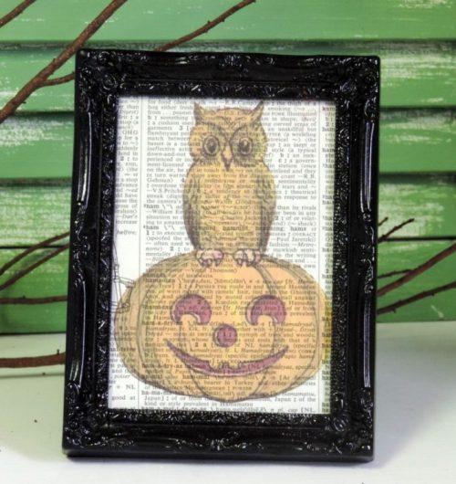 Vintage Owl and Pumpkin Framed Book Page