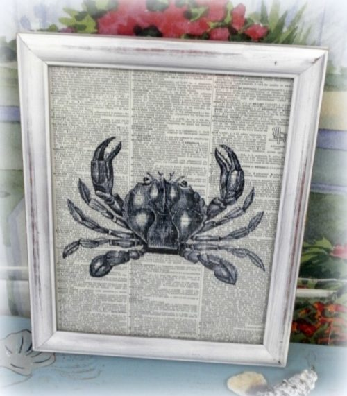 Framed Vintage Crab Upcycled Book Page