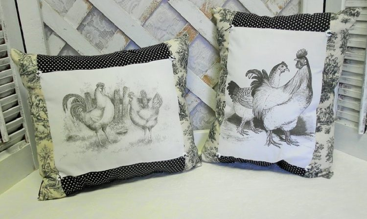 Handmade French Country Rooster Pillows
