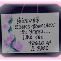 Hand Painted Shabby Rose Friendship Plaque Gift