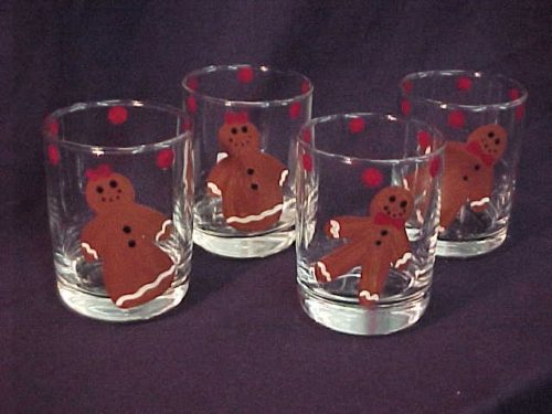 Hand Painted Gingerbread Man and Women Glasses