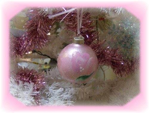Hand Painted Shabby Pink Rose Christmas Ornament