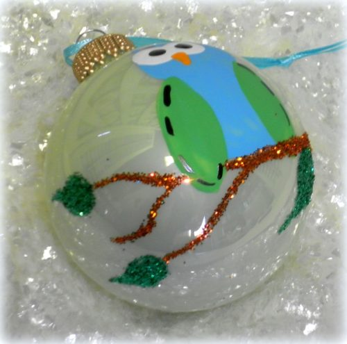 Glittered Owl Ornament