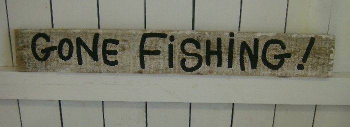 Shabby Gone Fishing Hand Painted Sign