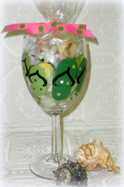 Hand Painted Candy Filled Flip Flop Wine Glass
