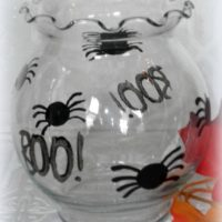 Hand Painted Halloween Spider Candle Holder, Candy Dish