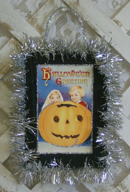 Handmade Vintage Inspired Victorian Halloween Greetings Plaque