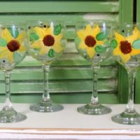 Hand Painted Sunflower Wine Glasses