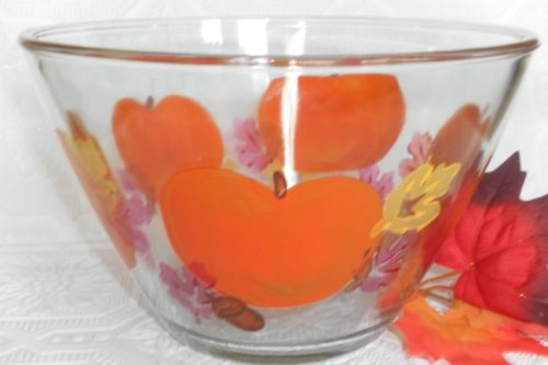 Hand Painted Autumn Inspired Glass Serving Bowl