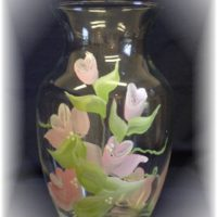 Hand Painted Rose Glass vase Perfect For A Shabby Chic Bridal Shower Or Wedding