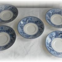 historic america San Francisco saucers blue and white transferware