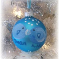 Hand Painted Kissing Fish Personalized Christmas Ornament
