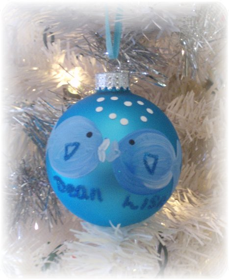 personalized hand painted kissing fish christmas tree ornament - Beach Themed Christmas Ornaments