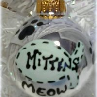 Personalized Kitty Cat Paw Print and Fish Christmas Tree Ornament