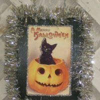 Vintage Victorian Halloween Pumpkin and Kitty Plaque