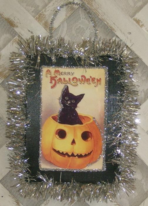 Vintage Victorian Halloween Pumpkin and Kitty Plaque
