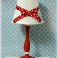 Red and White Polka Dotted Cottage Style Lamp