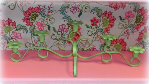 Lime Green Painted Vintage Candle Holder