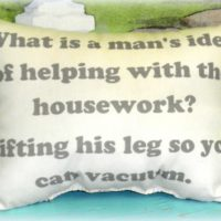 Funny Man Helping With The Housework Handmade Pillow