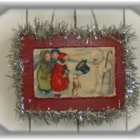 Nostalgic Vintage Victorian Snowman Christmas Card Wall Plaque