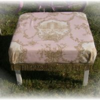 Shabby Chic Cottage Pink Toile Ottoman