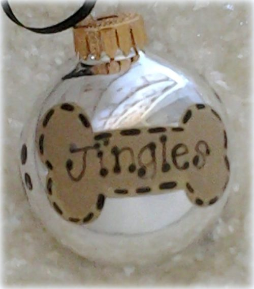 Personalized Hand Painted Dog Bone Puppy Paw Print Ornament