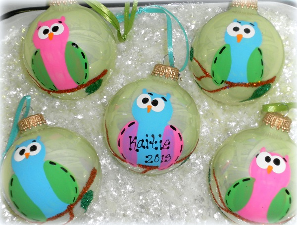Personalized Hand Painted Owl Christmas Tree Ornament