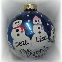 Personalized Handpainted Snowman Christmas Tree Ornament
