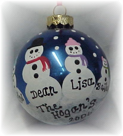 Personalized Hand Painted Snowman Christmas Tree Ornament