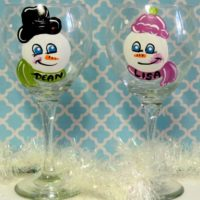 Personalized Hand Painted Snowman Wine Glassses