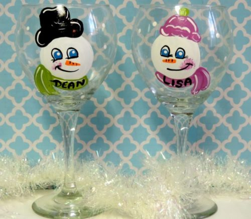 Personalized Snowman Wine Glass