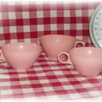 Pink Melamine Melmac Coffee Cups For A Cottage Kitchen