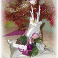 Pink Shabby Chic Reindeer Decoration