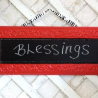 Country Red Metal Chalkboard