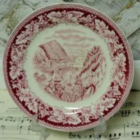 French Country Homer Laughlin Red Transferware Plate