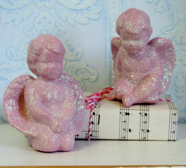Pink Glittered Shabby Chic Angel Figurines