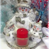 Country Snowman Family Tealight Candle Holder