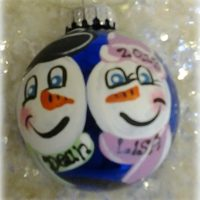 Hand Painted Personalized Snowman Couple Christmas Tree Ornament