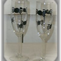 Hand Painted Halloween Spider Champagne Glasses