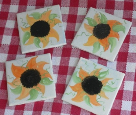 Hand Painted Country Sunflower Coasters