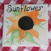 Hand Painted Sunflower Trivet Country Kitchen Decor