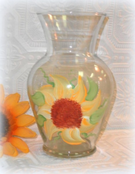 Hand Painted Sunflower Country Vase